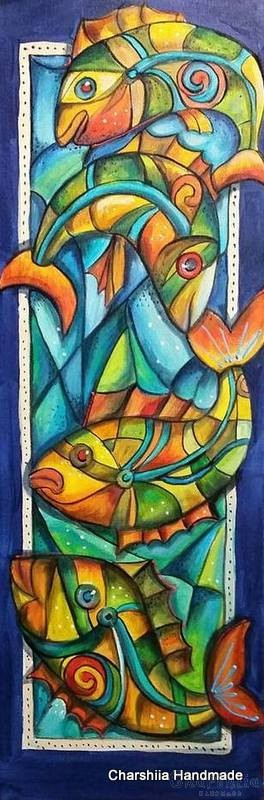 Painting ''Colorful arc of fish''