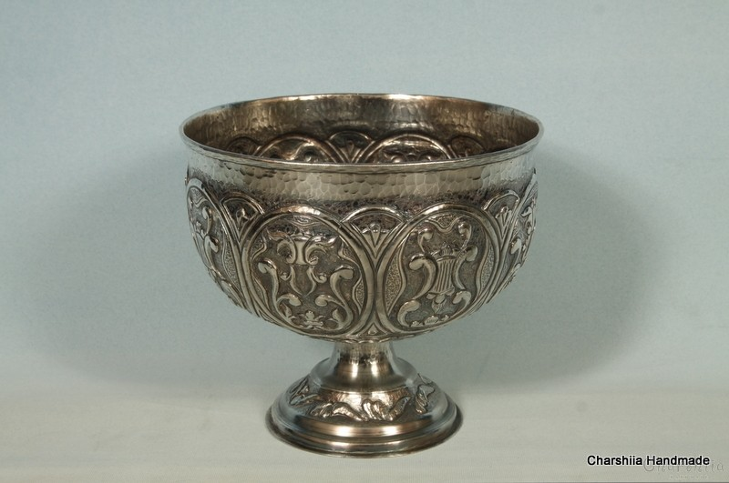 Copper releif, silver coated bowl