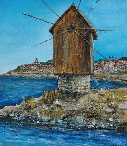 painting ''The sea and its windmill''