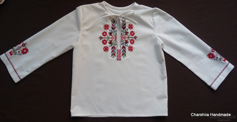 Top for little girls with Bulgarian embroidery