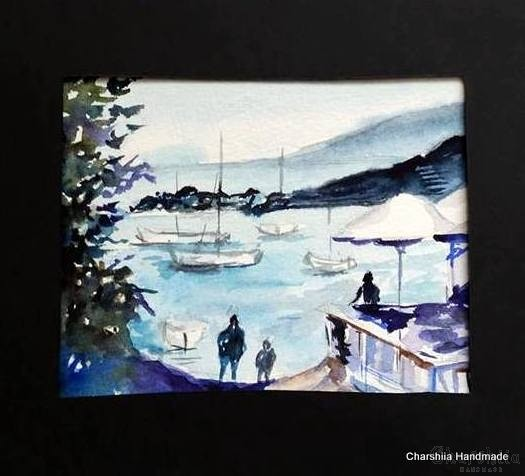 Painting ''Aquarelle - Port city'' 2