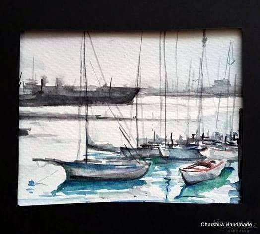 Painting ''Aquarelle - Port city'' 3