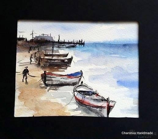 Painting ''Aquarelle - Port city'' 4