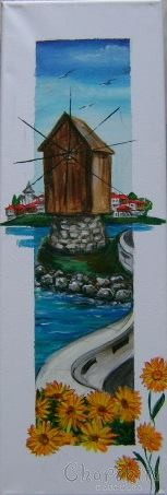 painting ''Mill, sea and flowers''