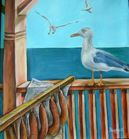 "painting ""Breakfast on the balcony"""
