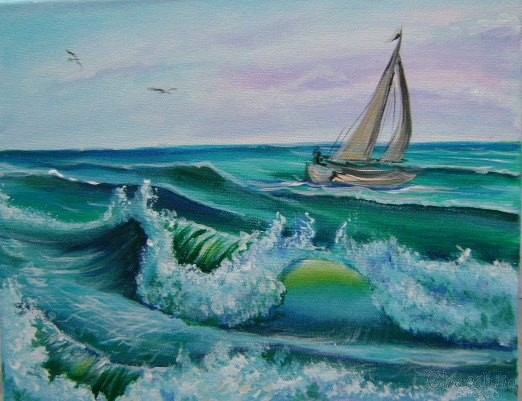 painting ''Among the waves''