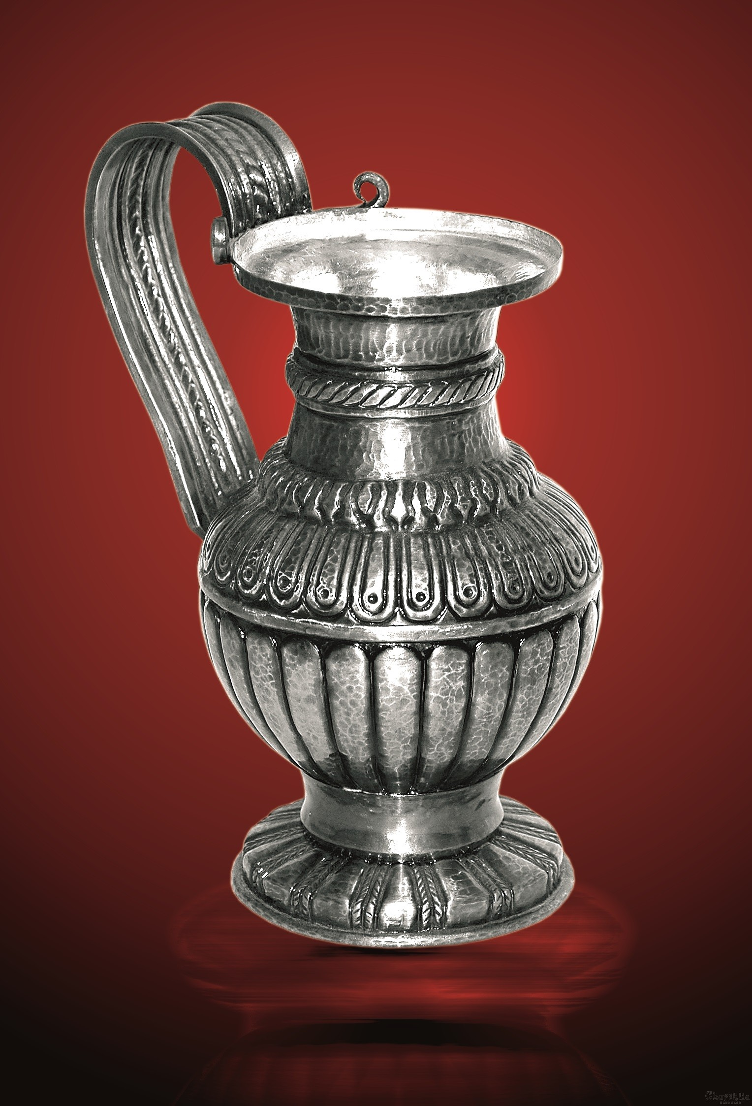 Copper relief, silver coated, jug, a partial replica of the jug from the Rogozen treasure