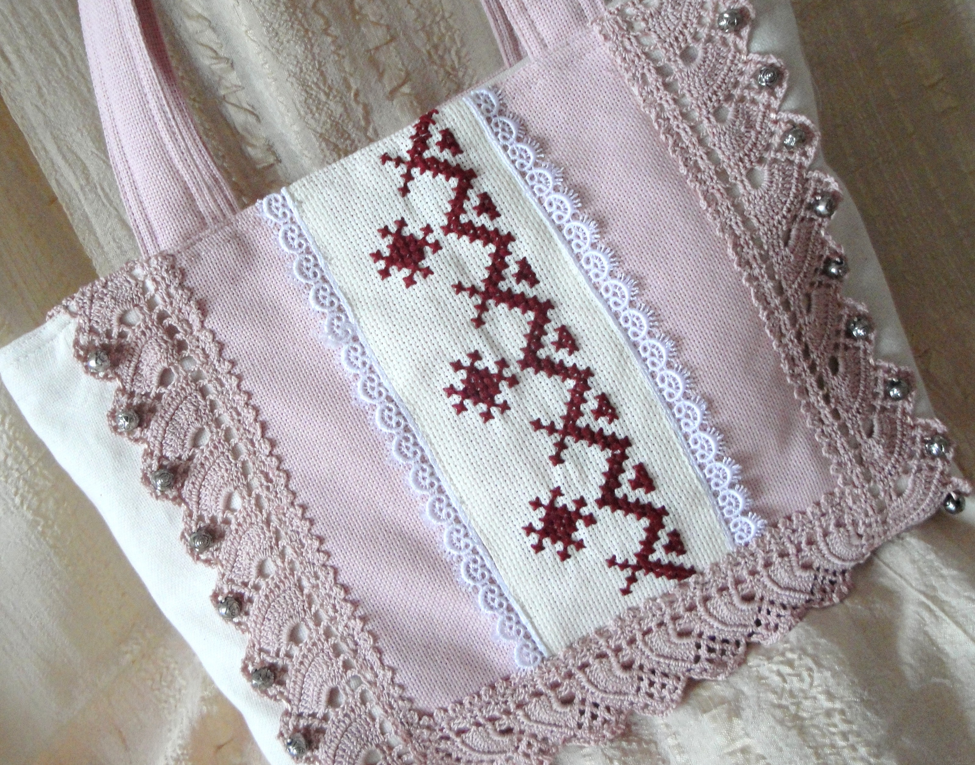 Pink bag with handmade embroidery