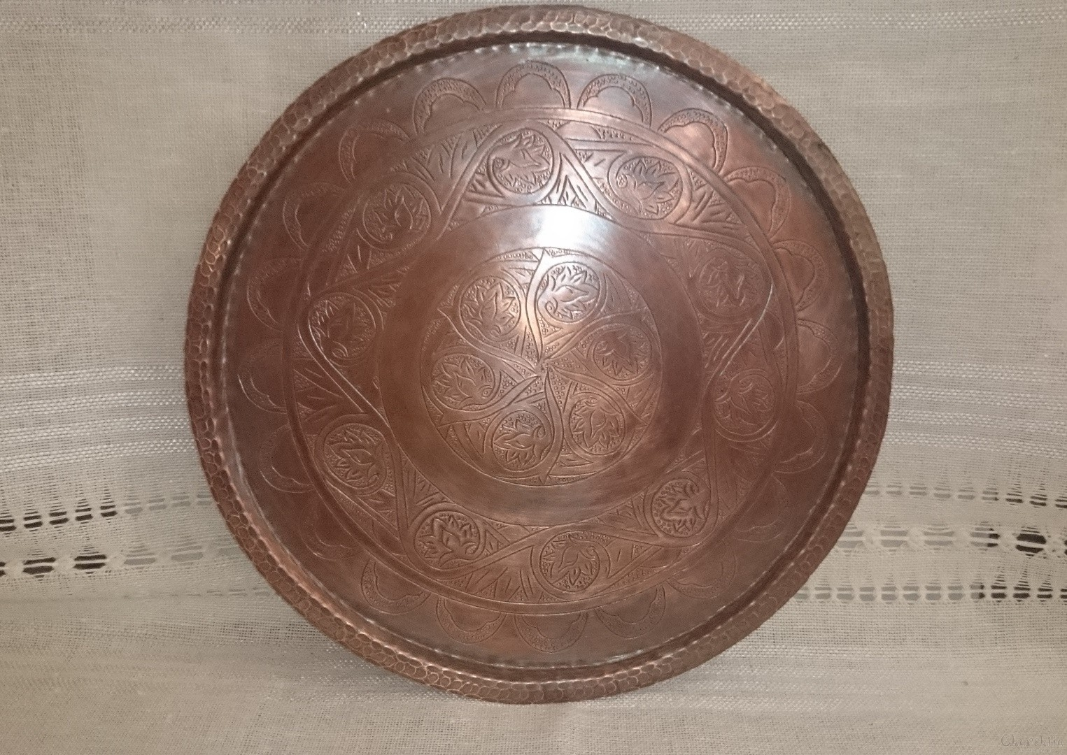 Еngraved copper platter with traditional bulgarian motives