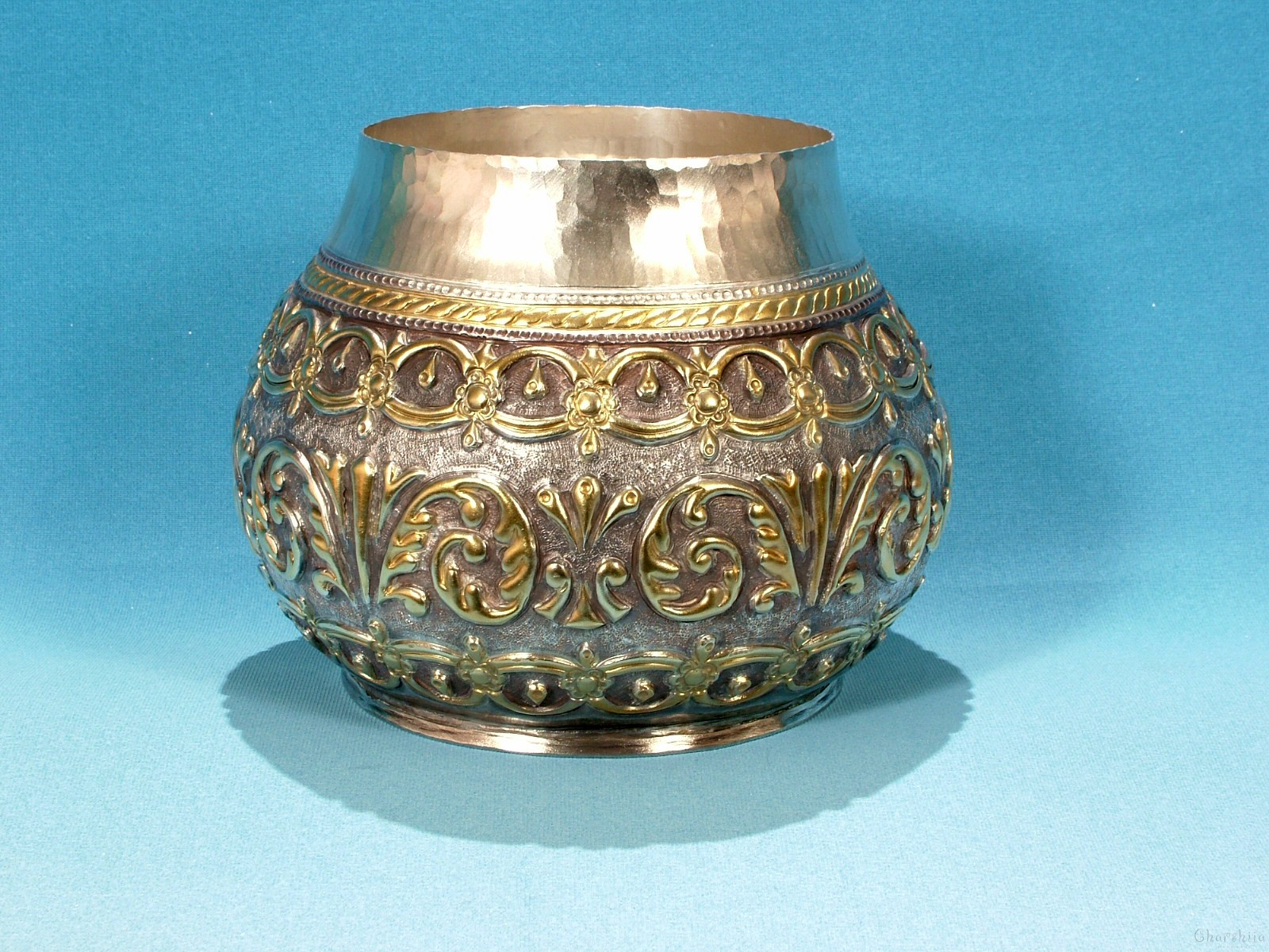 Copper relief bowl/Bratina - silver and partially gold-plated
