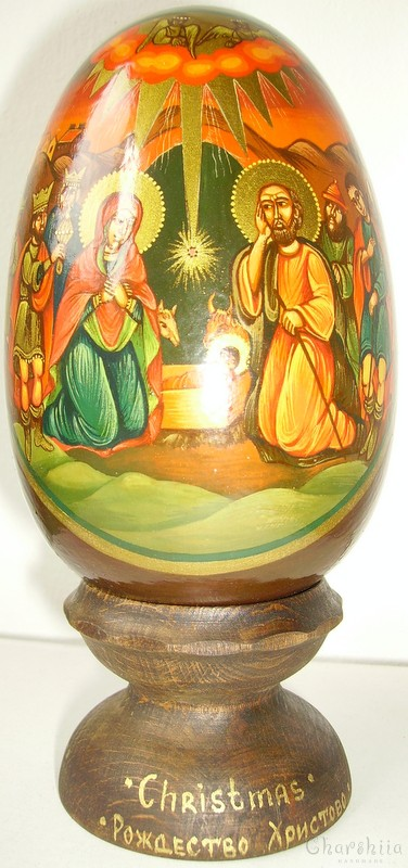 Christmas - icons painted on wooden eggs