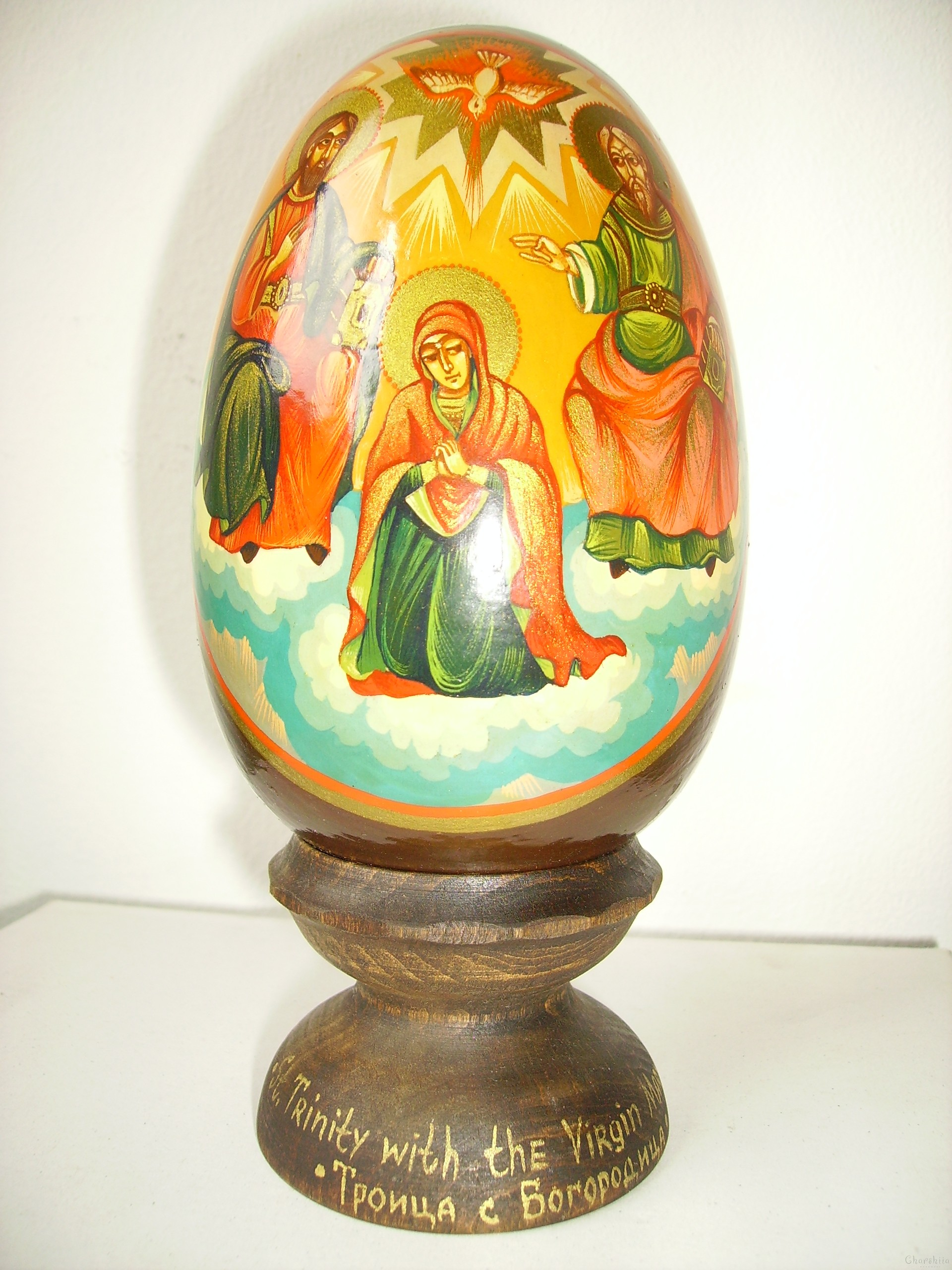 Holy Trinity with the Virgin Mary -icons painted on wooden eggs