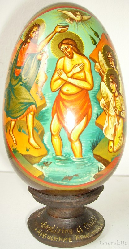 Baptism of Christ - icons painted on wooden eggs