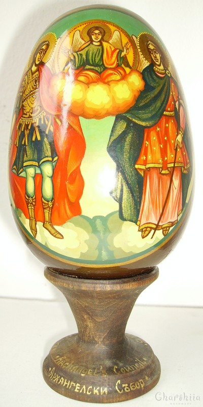 Angelic council - icons painted on wooden eggs