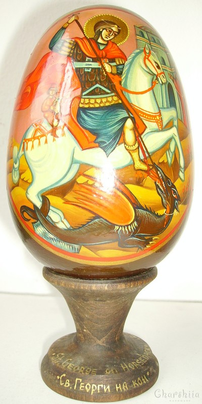 St. George on horseback - icons painted on wooden eggs