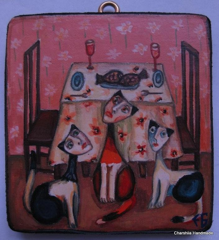 "Painting ""Dinner for three''"