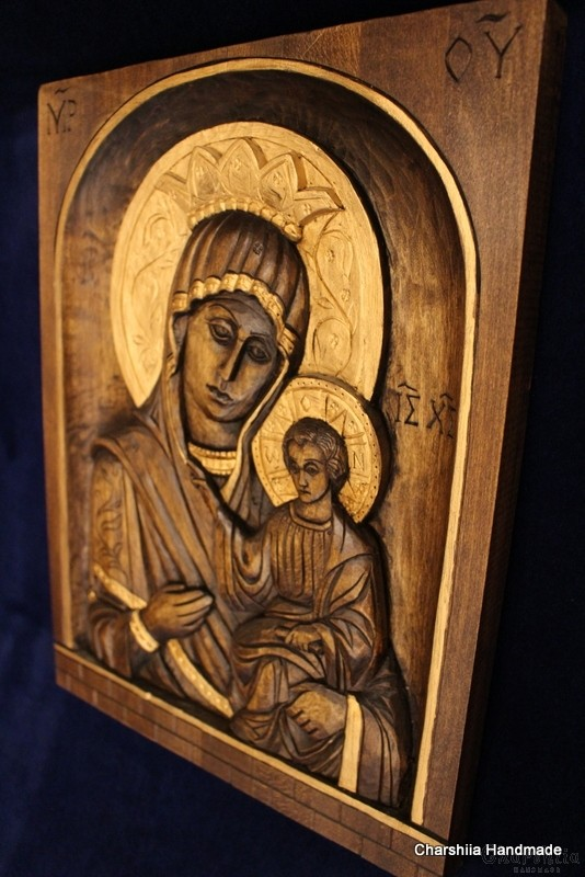 Woodcarving - Icon image of Madonna and Child
