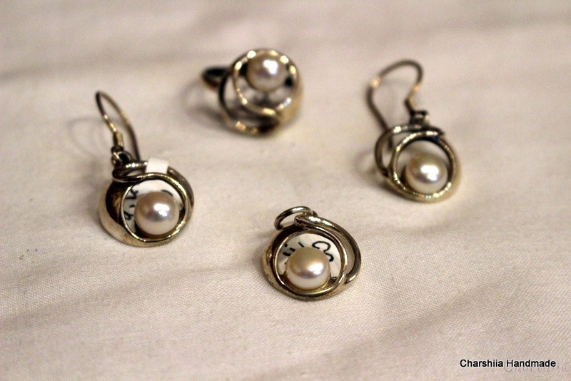 Silver set of three parts with Pearl