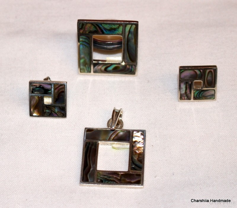 Silver set of three parts with Colorful Mother of pearl
