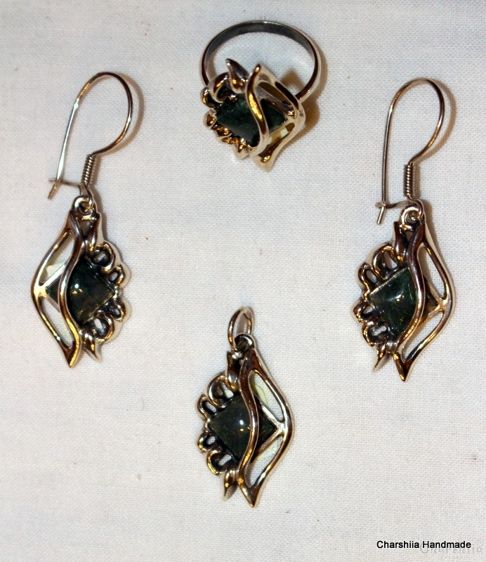 Silver set of three parts with Green Agate