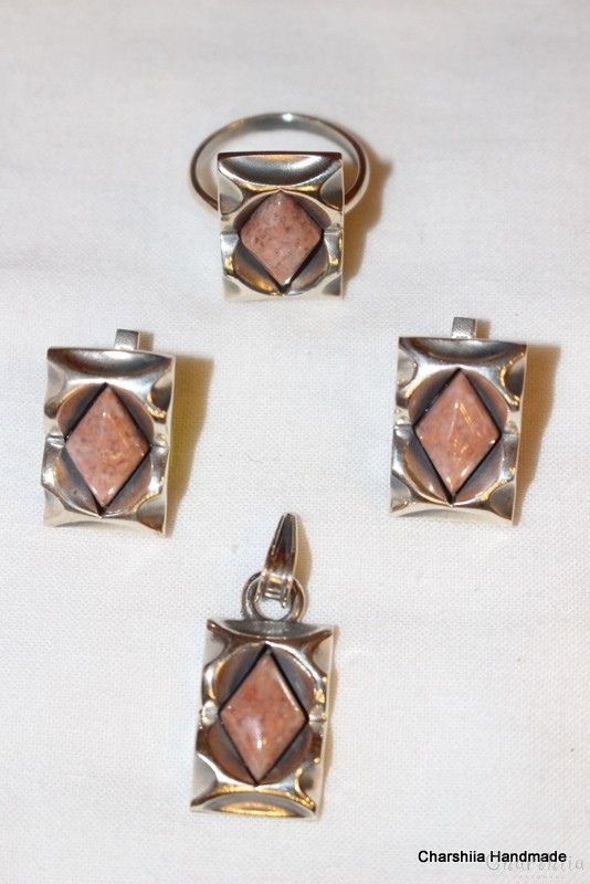 Silver set of three parts with Pink Agath