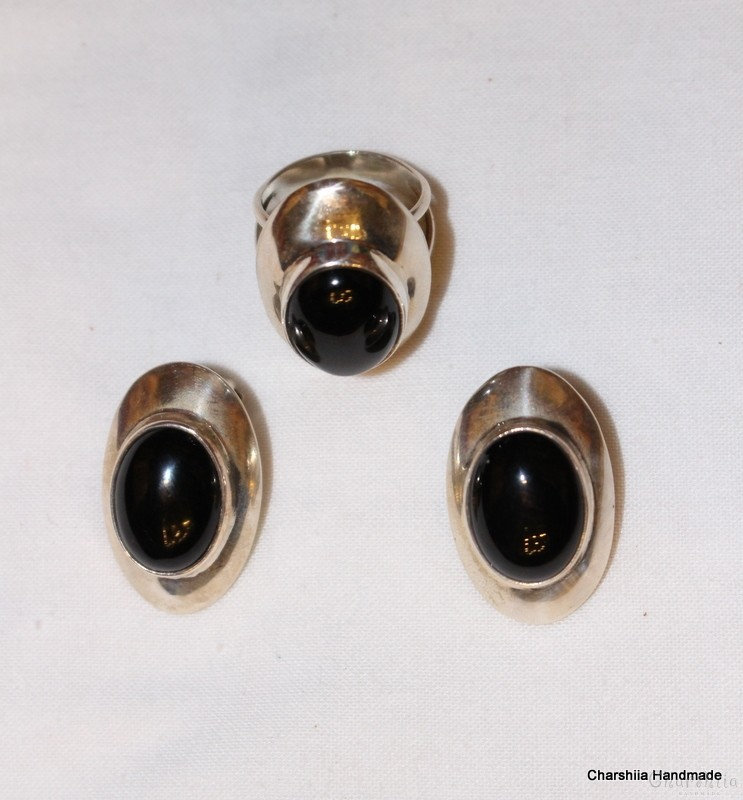 Silver set of two parts with Onyx