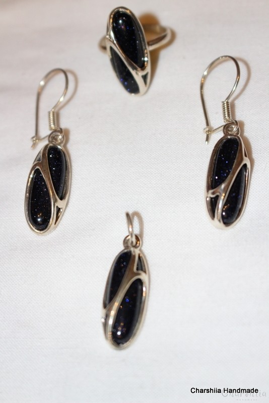 Silver set of three parts with Blue goldstone