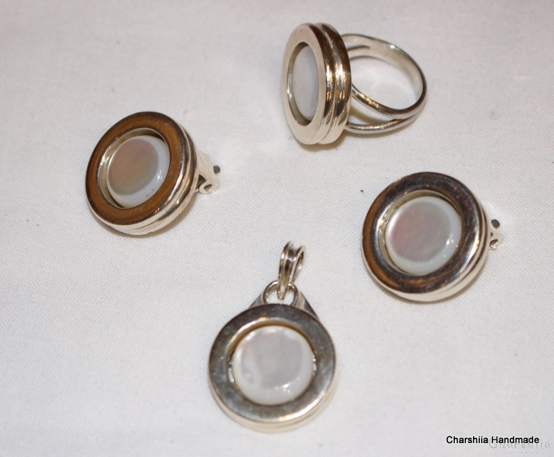 Silver set of three parts with Mother of pearl