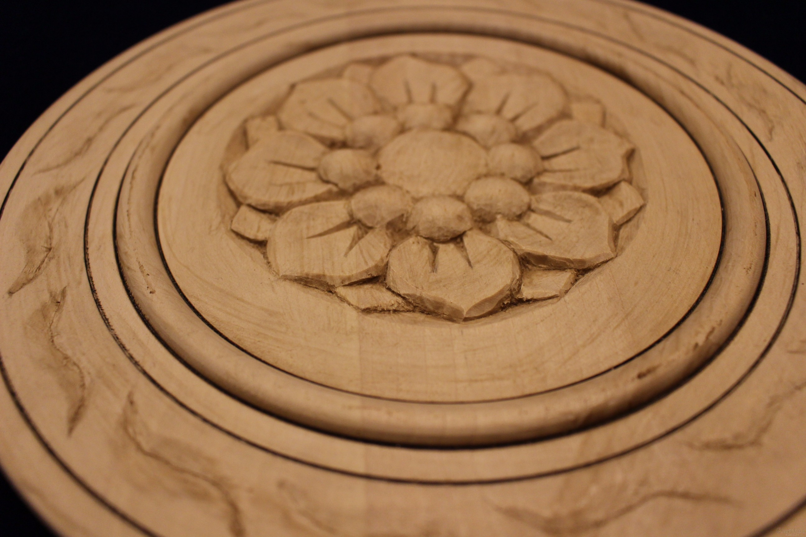 Plate of woodcarving ''Flowers''