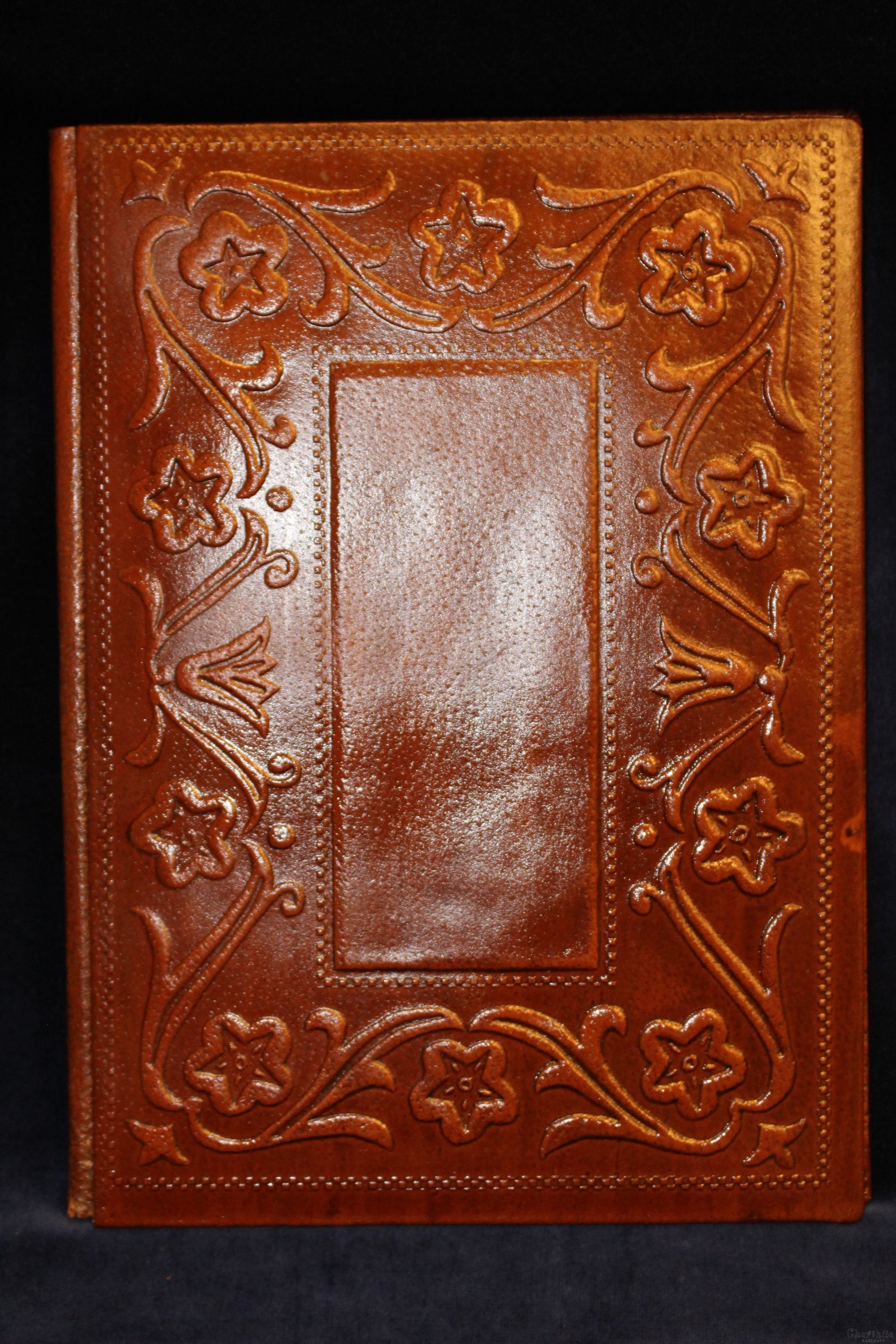 Address folder, handmade, genuine leather