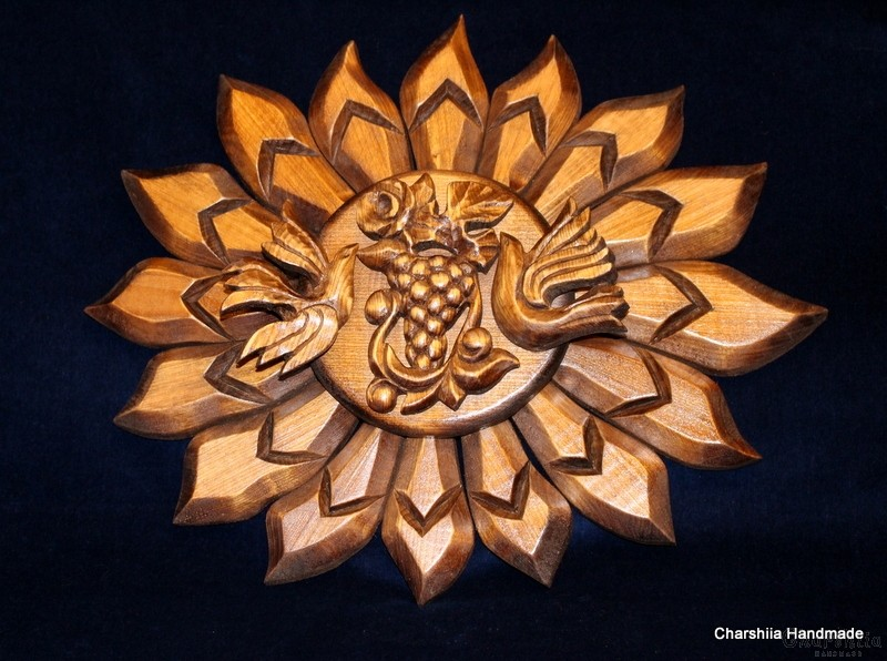 "Woodcarving ""Sun, birds, grapes"""