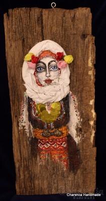 Wooden panel - Traditional Bulgarian girl