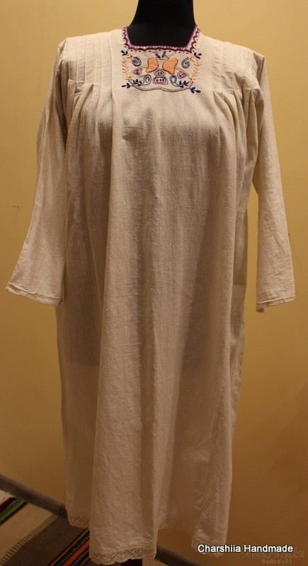 Old Bulgarian folk lady's long shirt