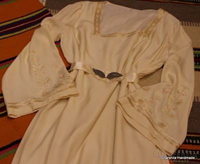 Ladies silk dress with Bulgarian embroidery