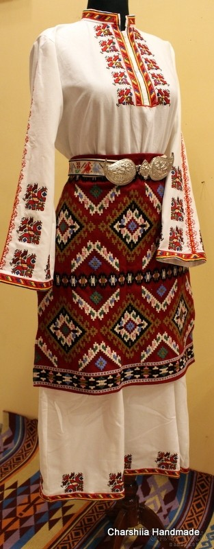Ladies long shirt and apron with Bulgarian embroidery