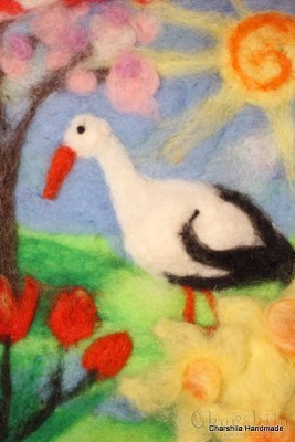 "Felt wall painting ""Spring"""