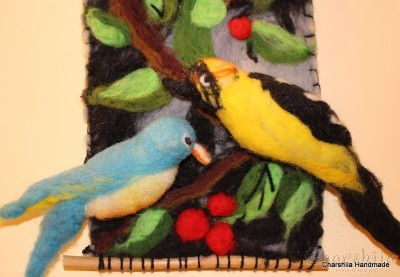 """Felt wall painting """"At lunch"""""""