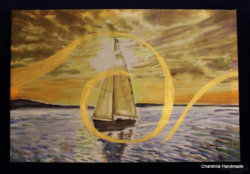 "Batik Silk Painting ''Sea 4"""