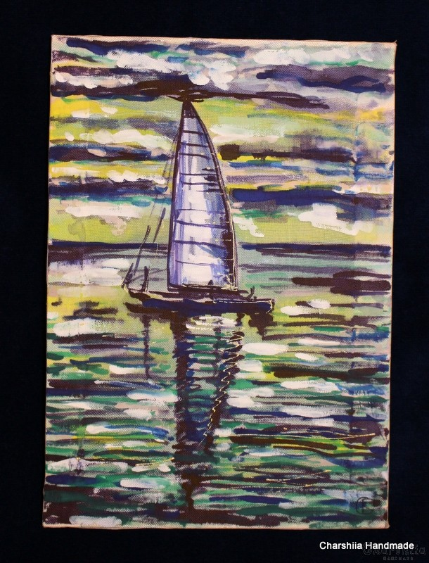 Batik Silk Painting ''Sea 2""
