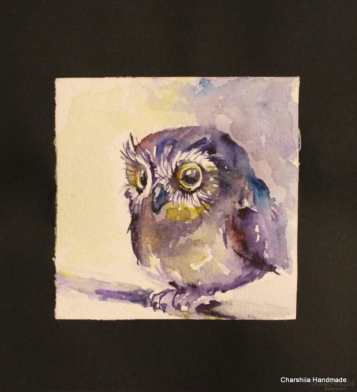 Painting ''Aquarelle - Owl''