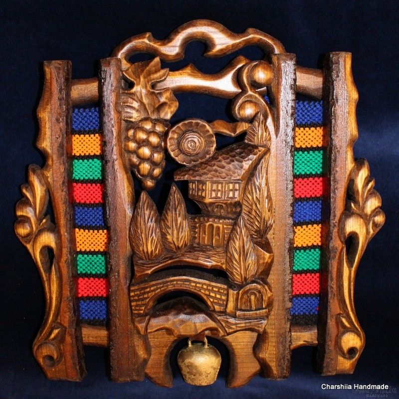 "Woodcarving ""Bulgarian house on rug"" 1"