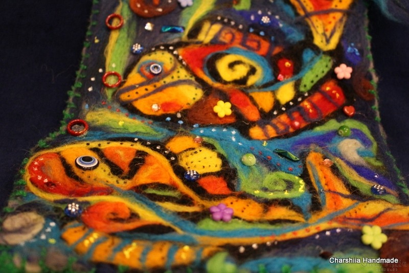 "Felt wall painting ""Underwater World - Fish"""