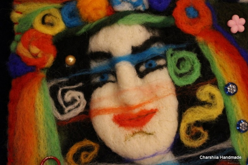 "Felt wall painting ""Woman - colorful world"""