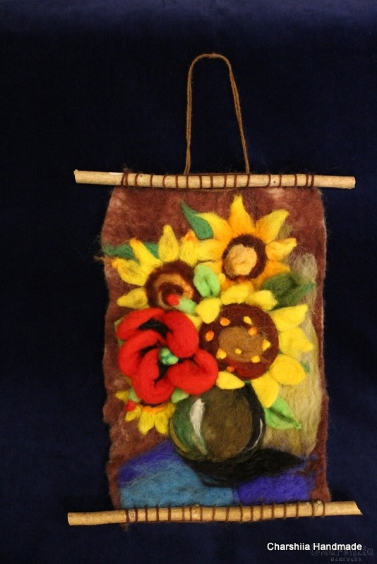 "Felt wall painting ""Sunflowers"" 1"