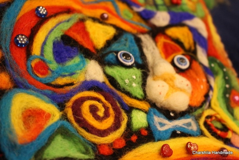 "Felt wall painting ""Cats - color world"""