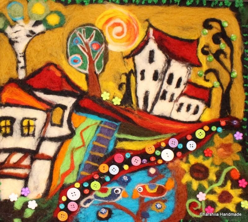"Felt wall painting ""Bulgarian village"""
