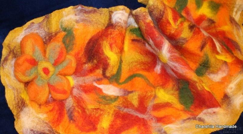 "Felted scarf ''Orange flower"""