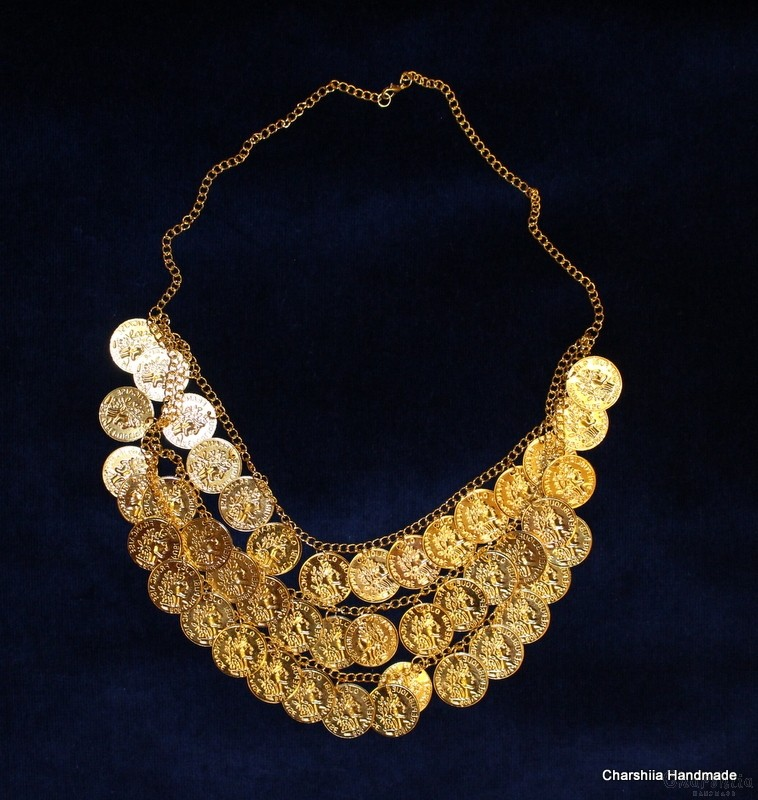 Ladies metal necklace as part of national clothing