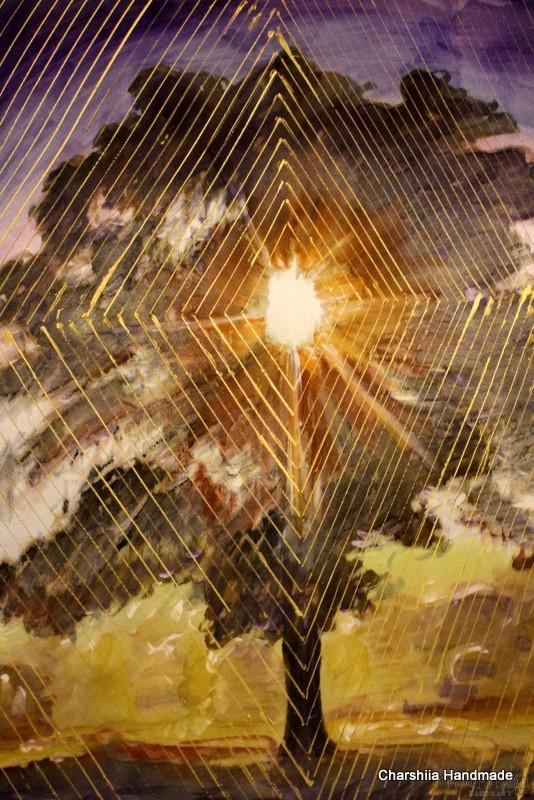 "Batik Silk Painting ''Energy wood 4"""