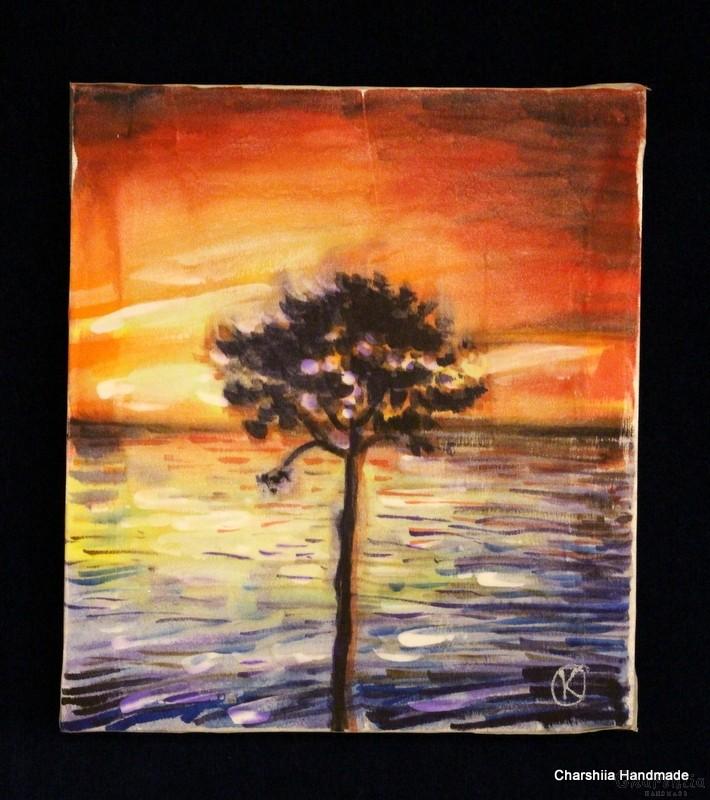 "Batik Silk Painting ''Energy wood 2"""